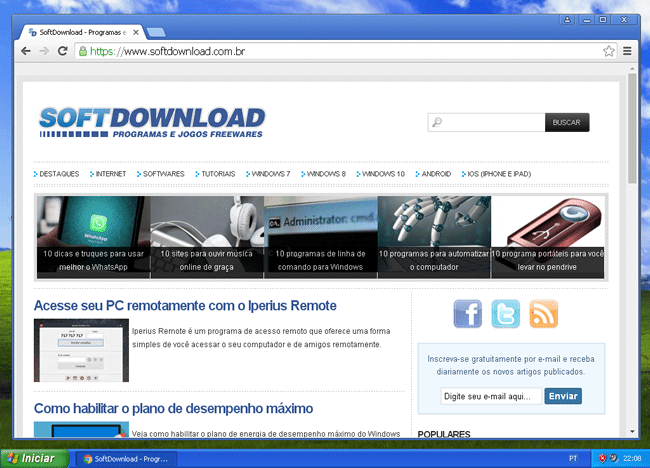 Download do Google Chrome para Windows XP