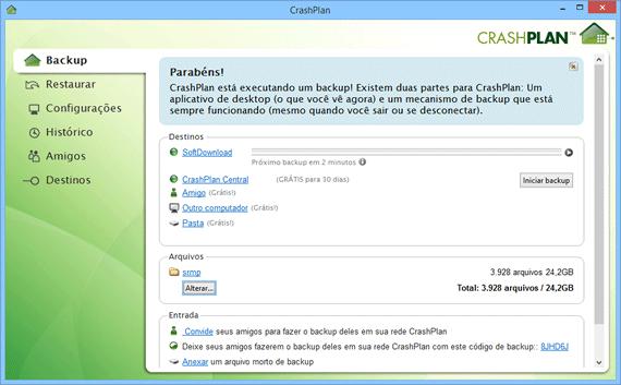 Programa de backup gratuito para Windows - CrashPlan