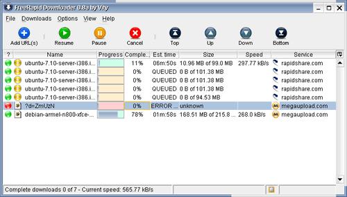 5 programas para baixar arquivos automaticamente no RapidShare - FreeRapid