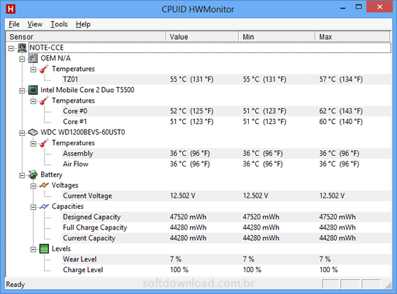 Monitore a temperatura do PC com o HWMonitor