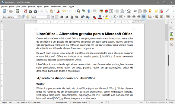 Alternativa gratuita para o Microsoft Office