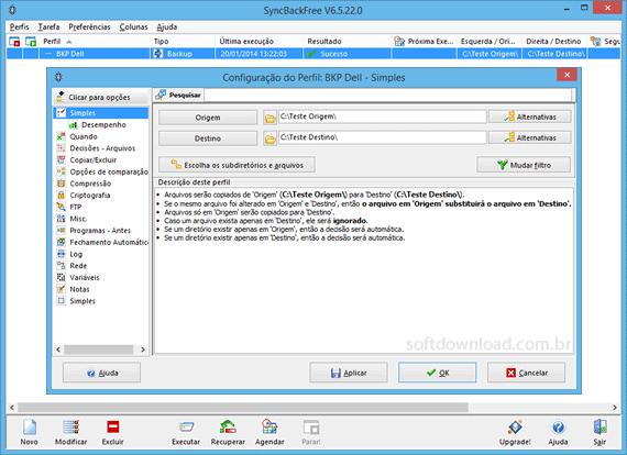 Programa de backup gratuito para Windows - SyncBack Free