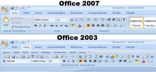 Use o Office 2007 com a interface do Office 2003