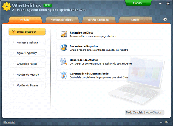Programa para limpar e otimizar o Windows - WinUtilities