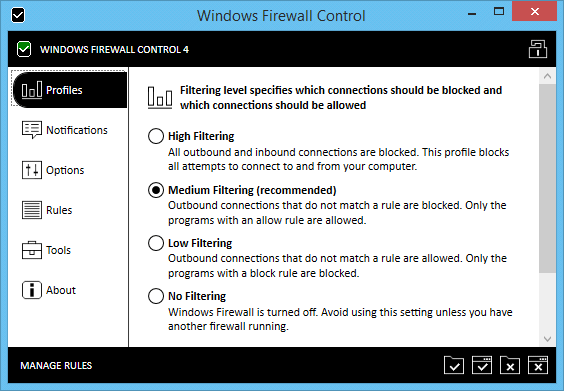 Controle o firewall do Windows com o Windows Firewall Control